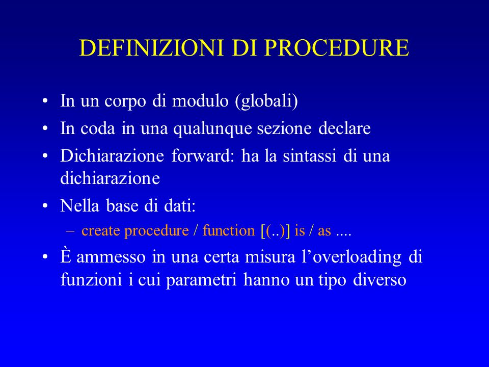 DEFINIZIONI DI PROCEDURE