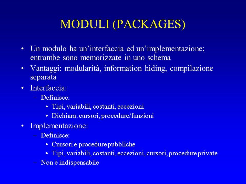 MODULI (PACKAGES) Un modulo ha un'interfaccia ed un'implementazione; entrambe sono memorizzate in uno schema.