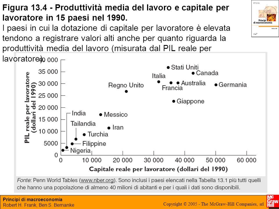 Figura 13.4 - Produttività media del lavoro e capitale per lavoratore in 15 paesi nel 1990.