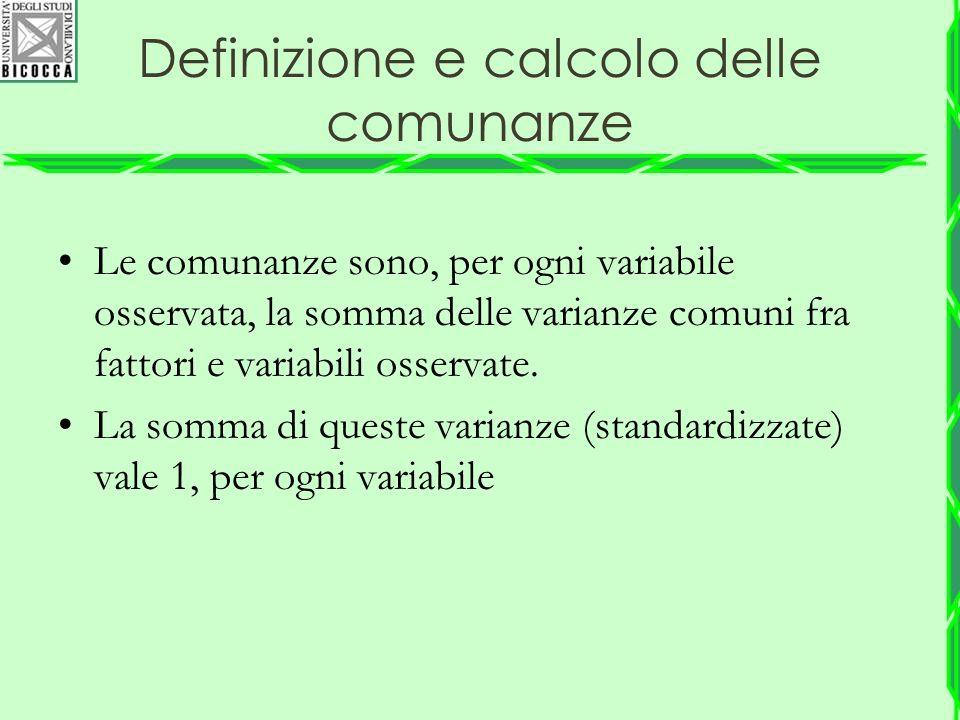 Definizione e calcolo delle comunanze