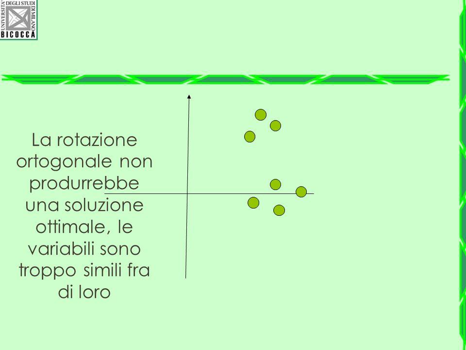 La rotazione ortogonale non produrrebbe una soluzione ottimale, le variabili sono troppo simili fra di loro