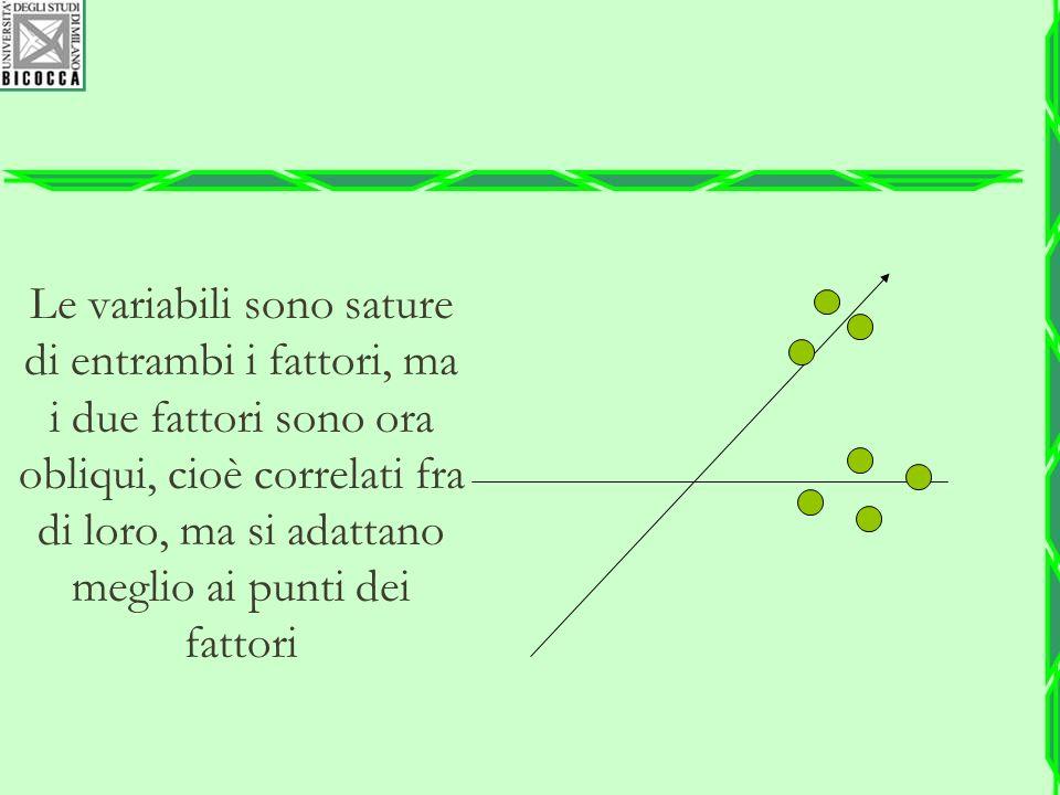 Le variabili sono sature di entrambi i fattori, ma i due fattori sono ora obliqui, cioè correlati fra di loro, ma si adattano meglio ai punti dei fattori
