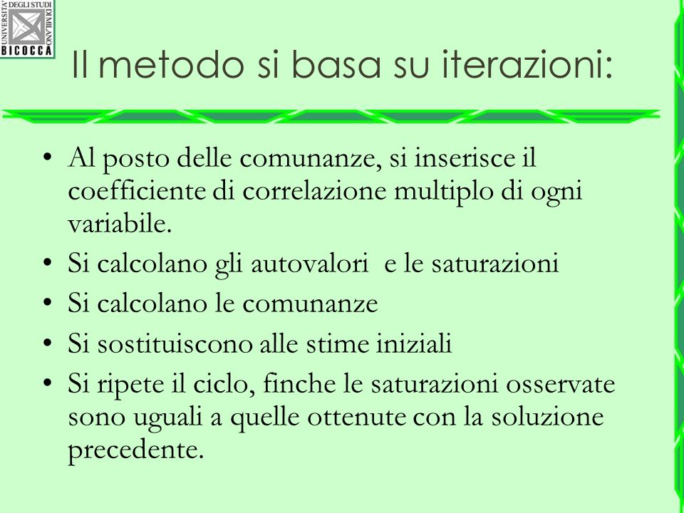 Il metodo si basa su iterazioni: