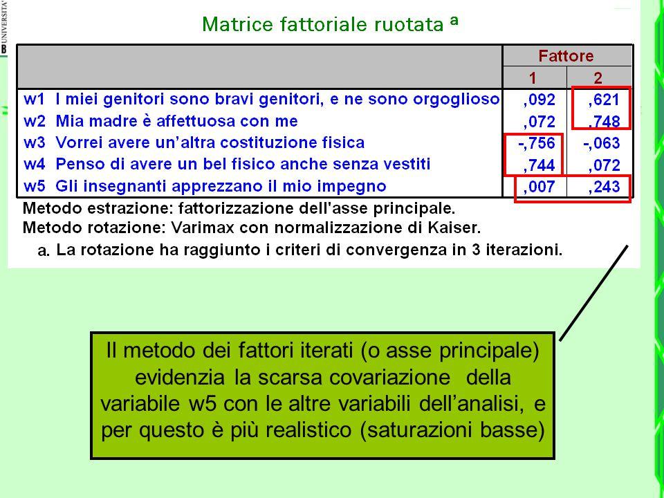 Il metodo dei fattori iterati (o asse principale) evidenzia la scarsa covariazione della variabile w5 con le altre variabili dell'analisi, e per questo è più realistico (saturazioni basse)
