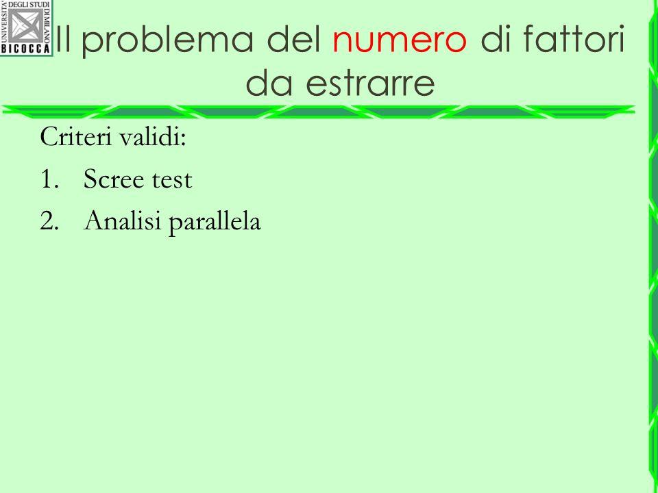 Il problema del numero di fattori da estrarre