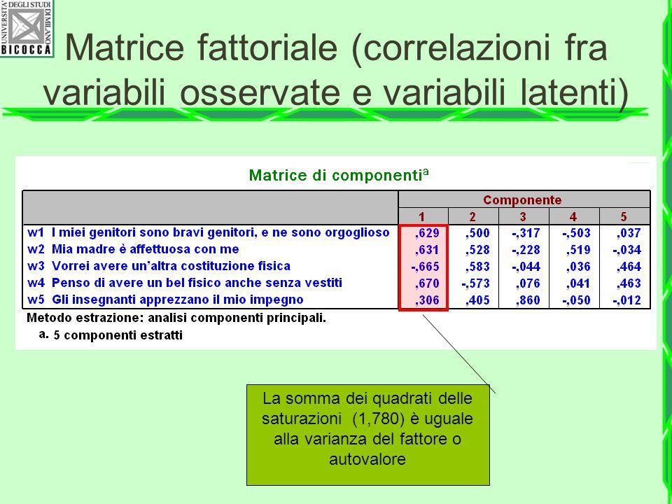 Matrice fattoriale (correlazioni fra variabili osservate e variabili latenti)