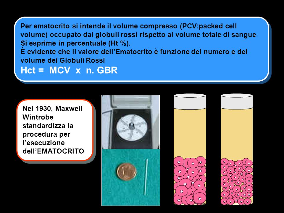 Per ematocrito si intende il volume compresso (PCV:packed cell volume) occupato dai globuli rossi rispetto al volume totale di sangue Si esprime in percentuale (Ht %).