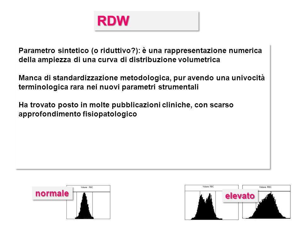 RDW Parametro sintetico (o riduttivo ): è una rappresentazione numerica della ampiezza di una curva di distribuzione volumetrica.
