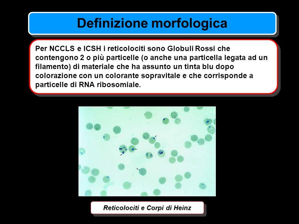 Definizione morfologica Reticolociti e Corpi di Heinz