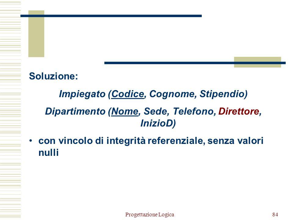 Impiegato (Codice, Cognome, Stipendio)