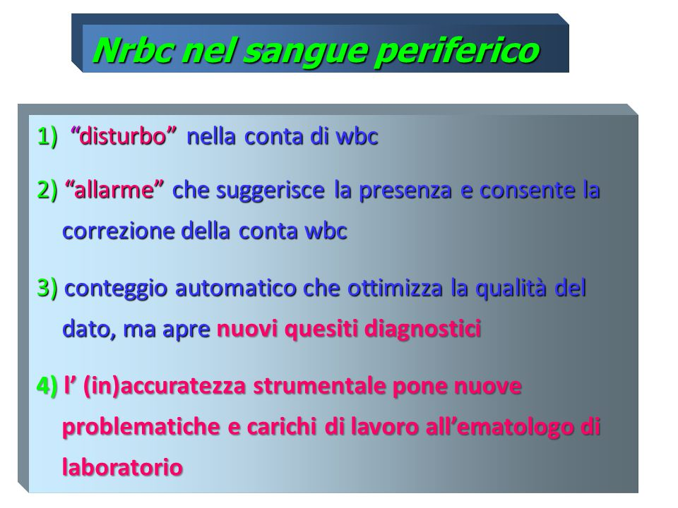 Nrbc nel sangue periferico