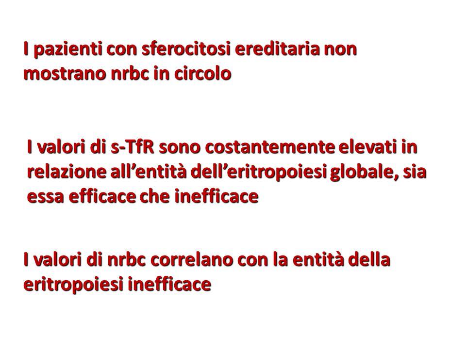 I pazienti con sferocitosi ereditaria non mostrano nrbc in circolo