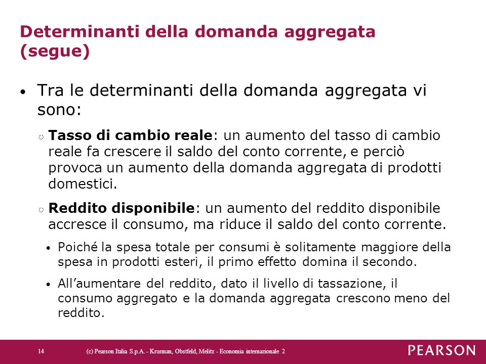 Determinanti della domanda aggregata (segue)