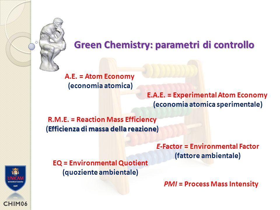 Green Chemistry: parametri di controllo