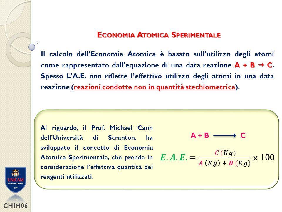 𝑬.𝑨.𝑬.= 𝑪 (𝑲𝒈) 𝑨 𝑲𝒈 + 𝑩 (𝑲𝒈) x 100 Economia Atomica Sperimentale