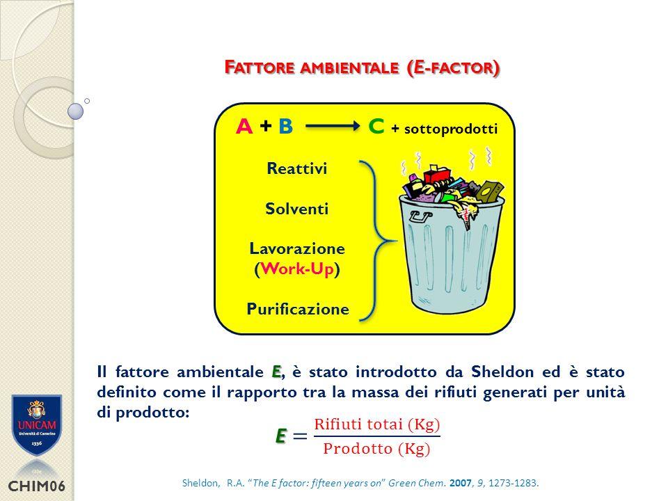E = Rifiuti totai (Kg) Prodotto (Kg) A + B C + sottoprodotti
