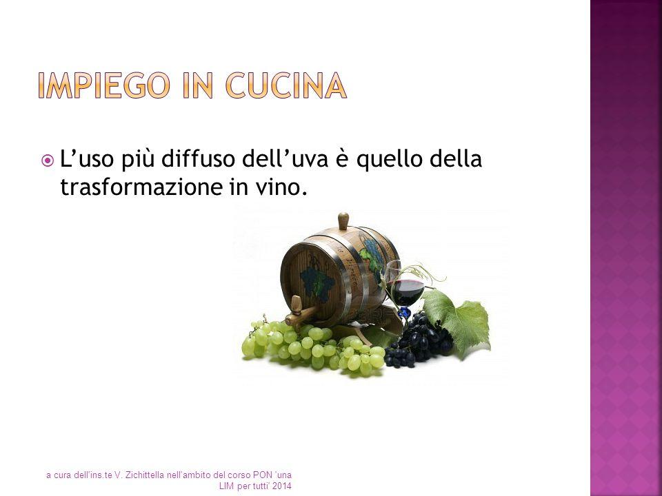 Impiego in cucina L'uso più diffuso dell'uva è quello della trasformazione in vino.