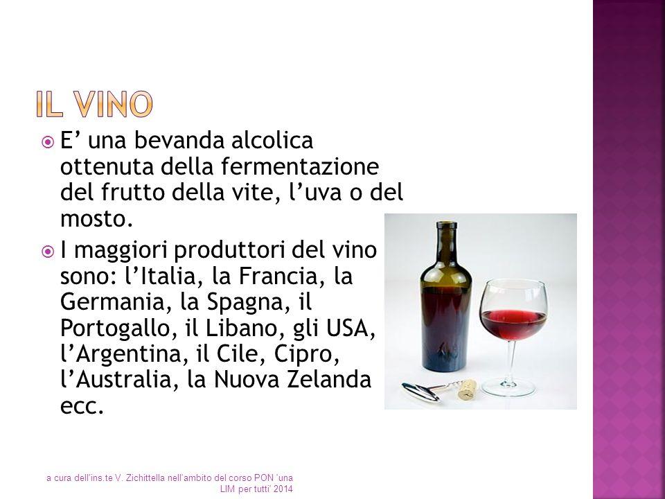 Il vino E' una bevanda alcolica ottenuta della fermentazione del frutto della vite, l'uva o del mosto.