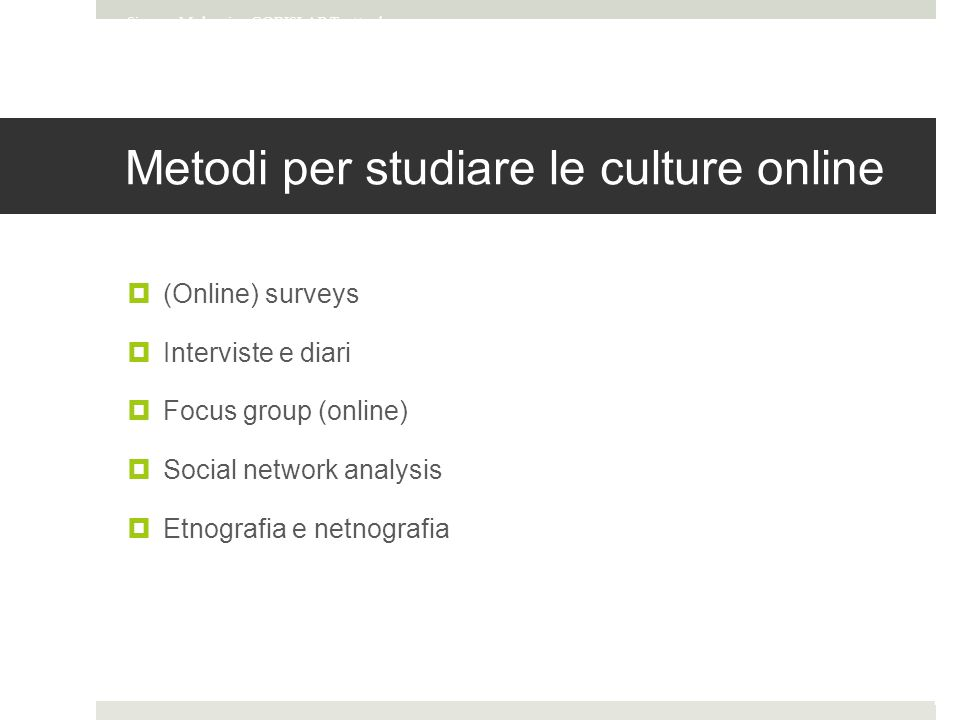 Metodi per studiare le culture online