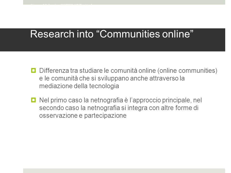 Research into Communities online