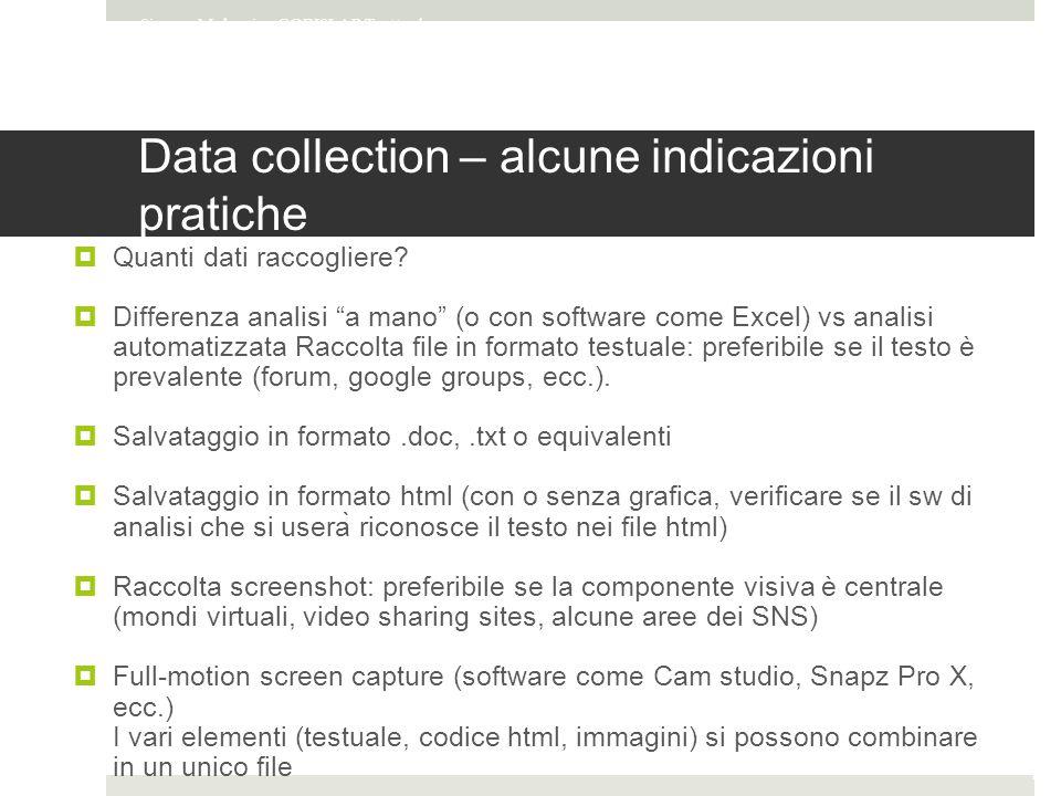 Data collection – alcune indicazioni pratiche