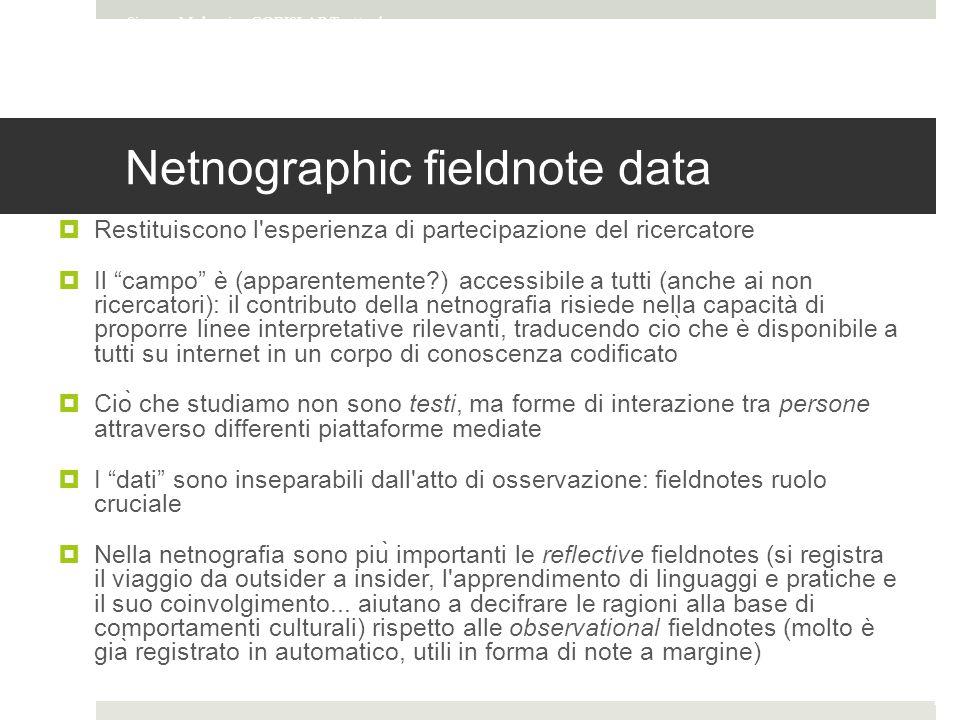 Netnographic fieldnote data