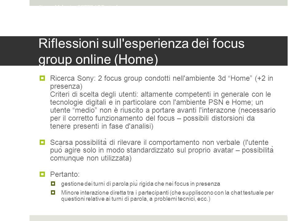 Riflessioni sull esperienza dei focus group online (Home)