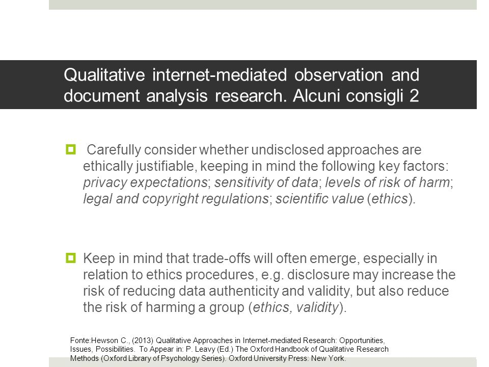 Qualitative internet-mediated observation and document analysis research. Alcuni consigli 2