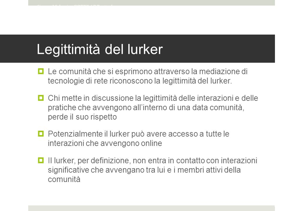 Legittimità del lurker