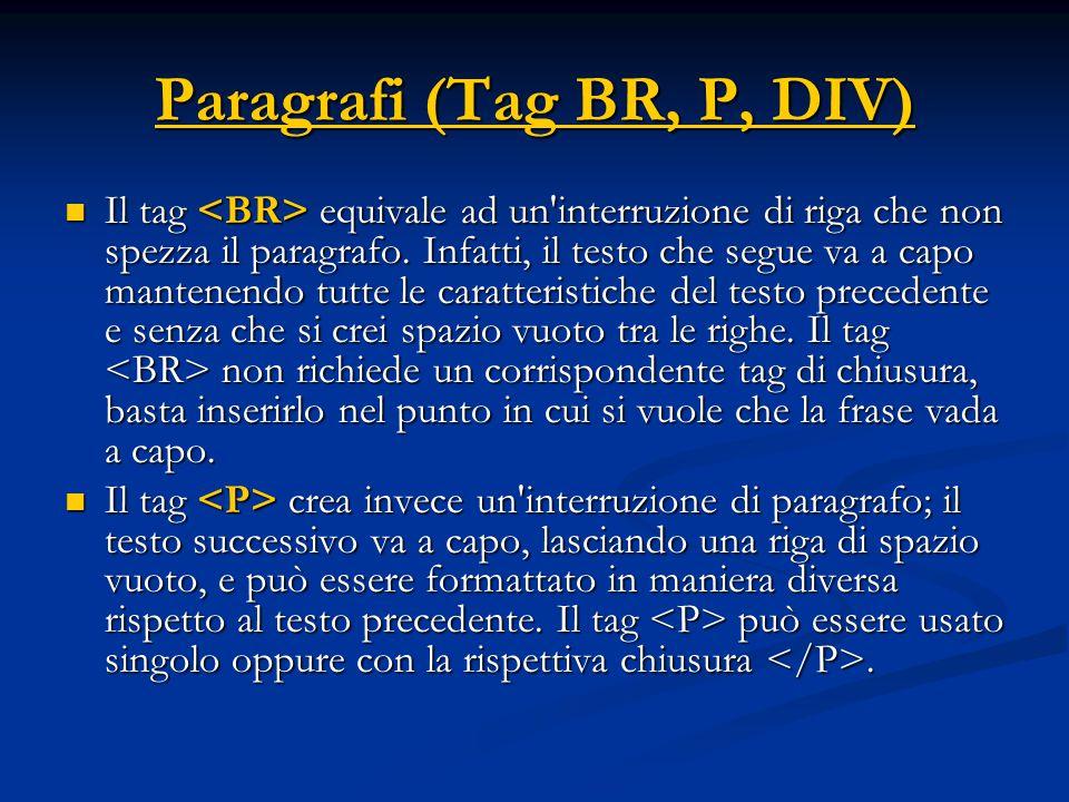 Paragrafi (Tag BR, P, DIV)