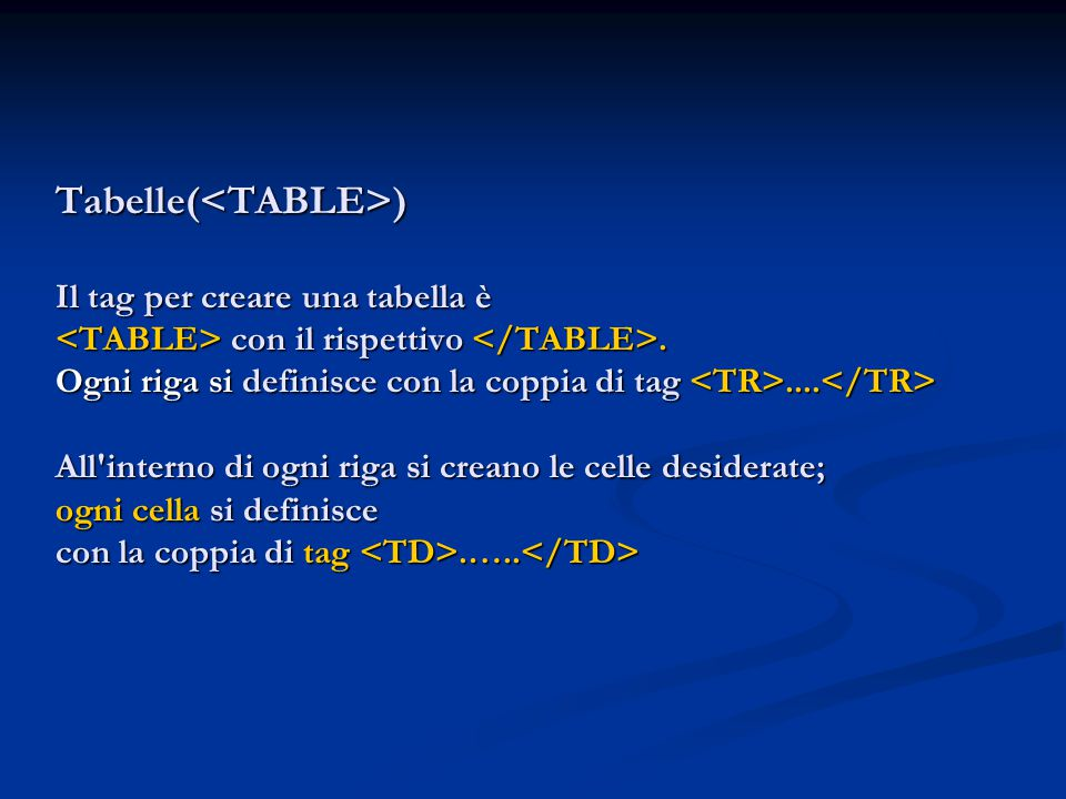 Tabelle(<TABLE>) Il tag per creare una tabella è <TABLE> con il rispettivo </TABLE>.