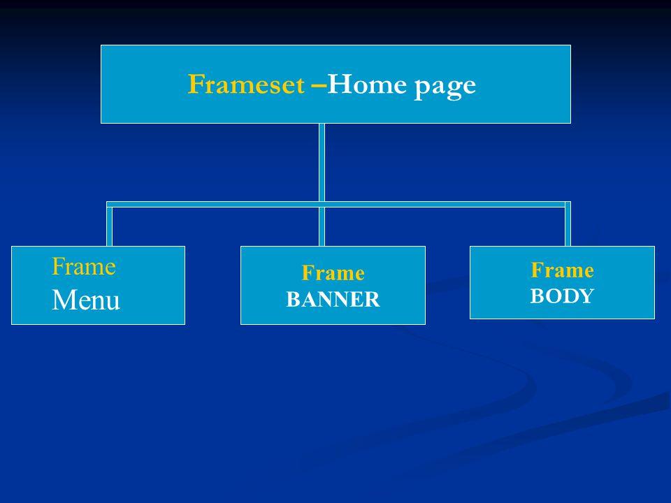 Frameset –Home page Frame Menu Frame BANNER Frame BODY