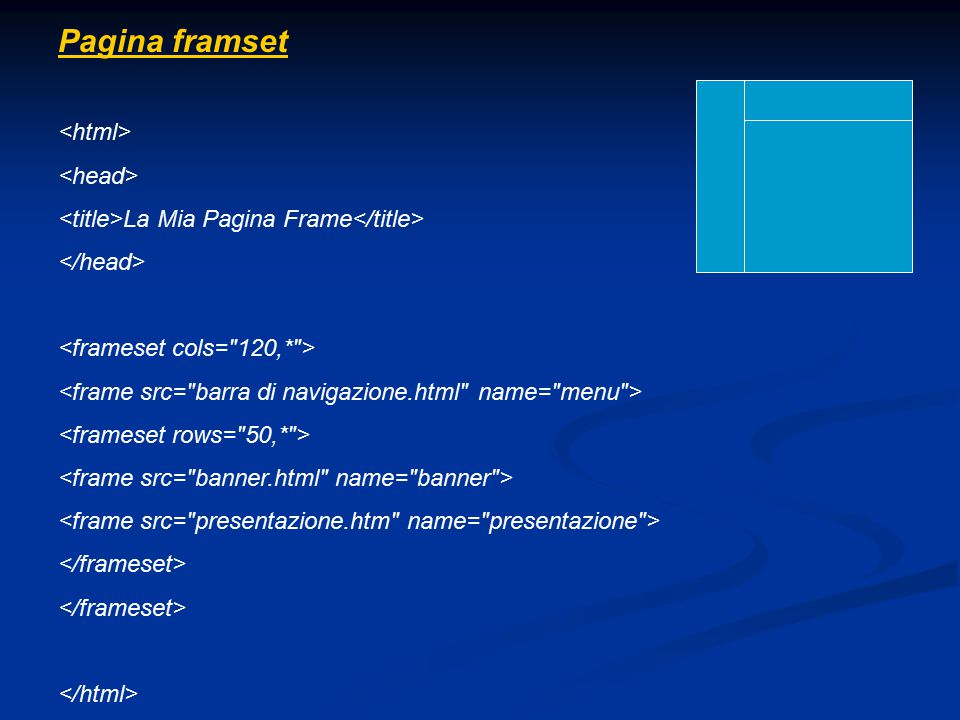 Pagina framset <html> <head>