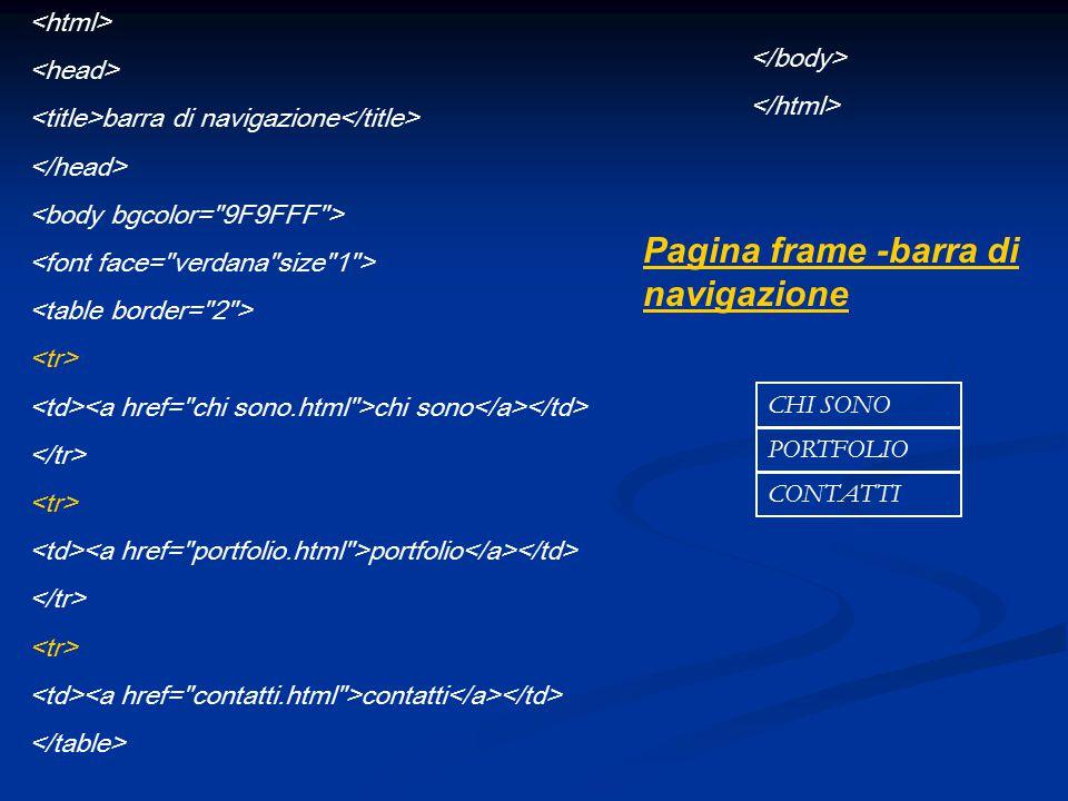 Pagina frame -barra di navigazione