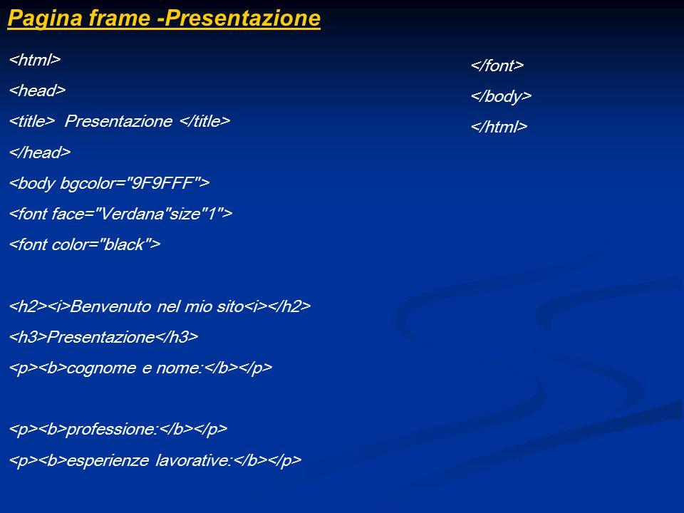 Pagina frame -Presentazione