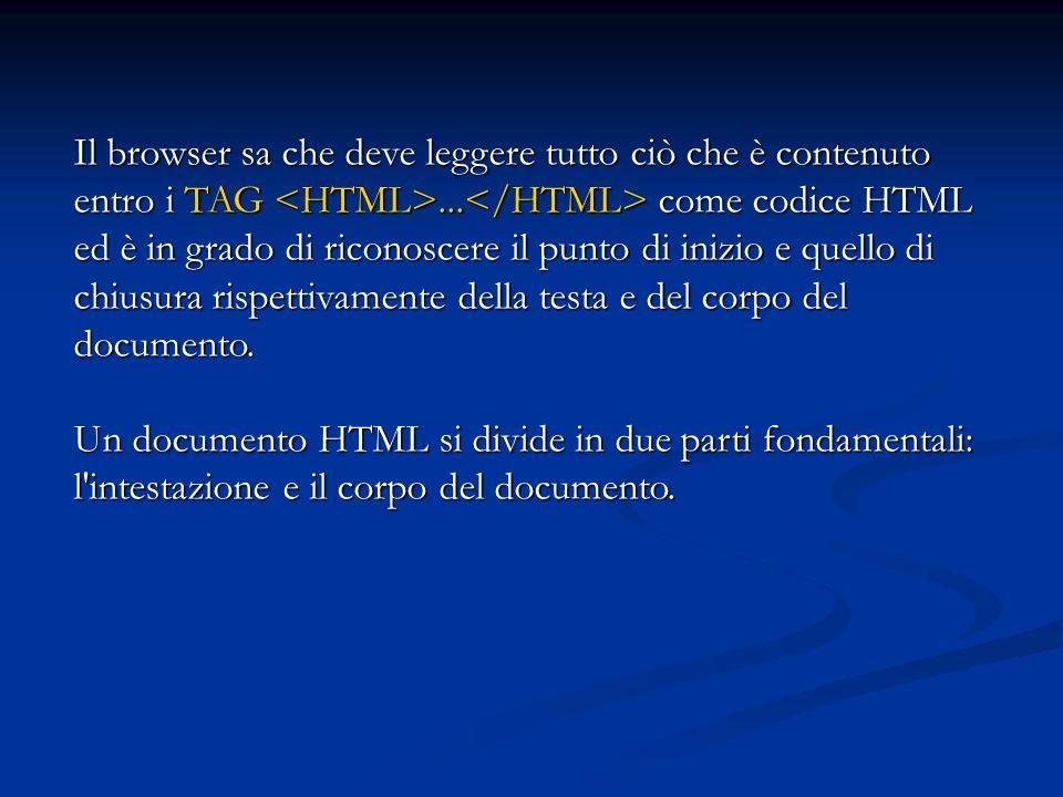 Il browser sa che deve leggere tutto ciò che è contenuto entro i TAG <HTML>...</HTML> come codice HTML ed è in grado di riconoscere il punto di inizio e quello di chiusura rispettivamente della testa e del corpo del documento.