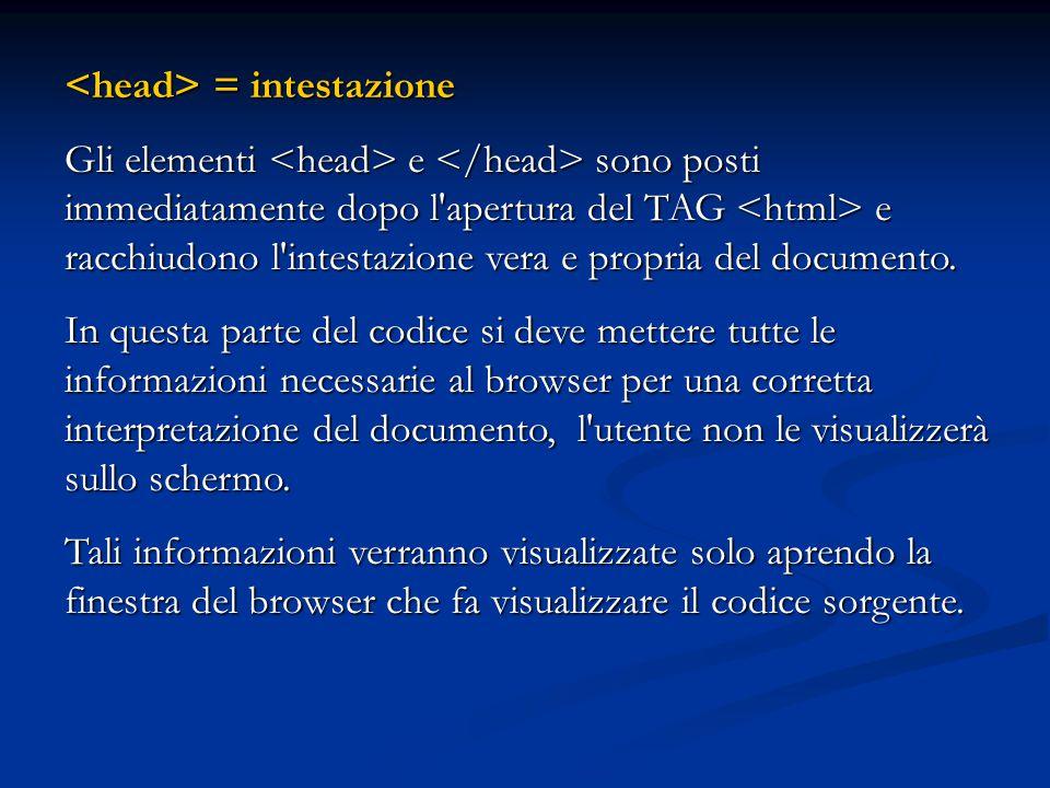<head> = intestazione
