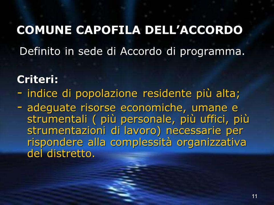 COMUNE CAPOFILA DELL'ACCORDO
