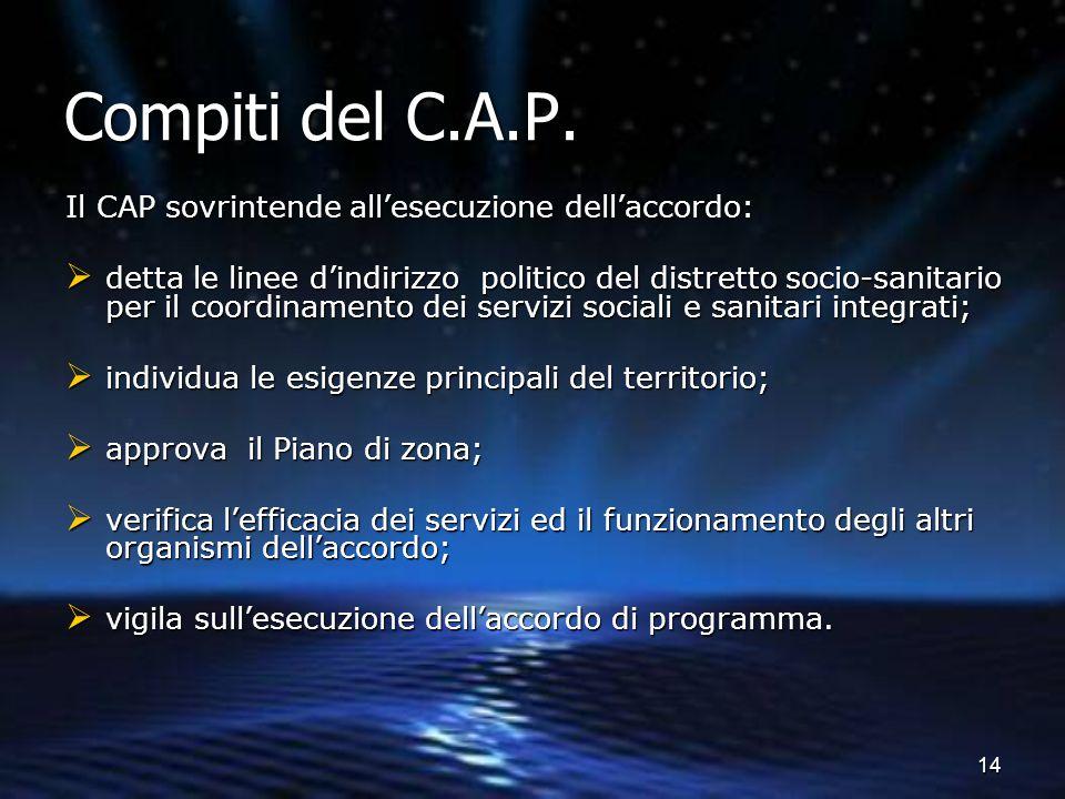 Compiti del C.A.P. Il CAP sovrintende all'esecuzione dell'accordo: