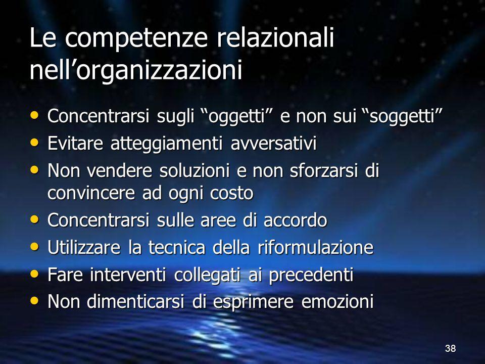Le competenze relazionali nell'organizzazioni