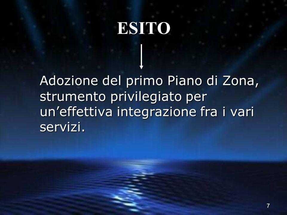 ESITO Adozione del primo Piano di Zona, strumento privilegiato per un'effettiva integrazione fra i vari servizi.