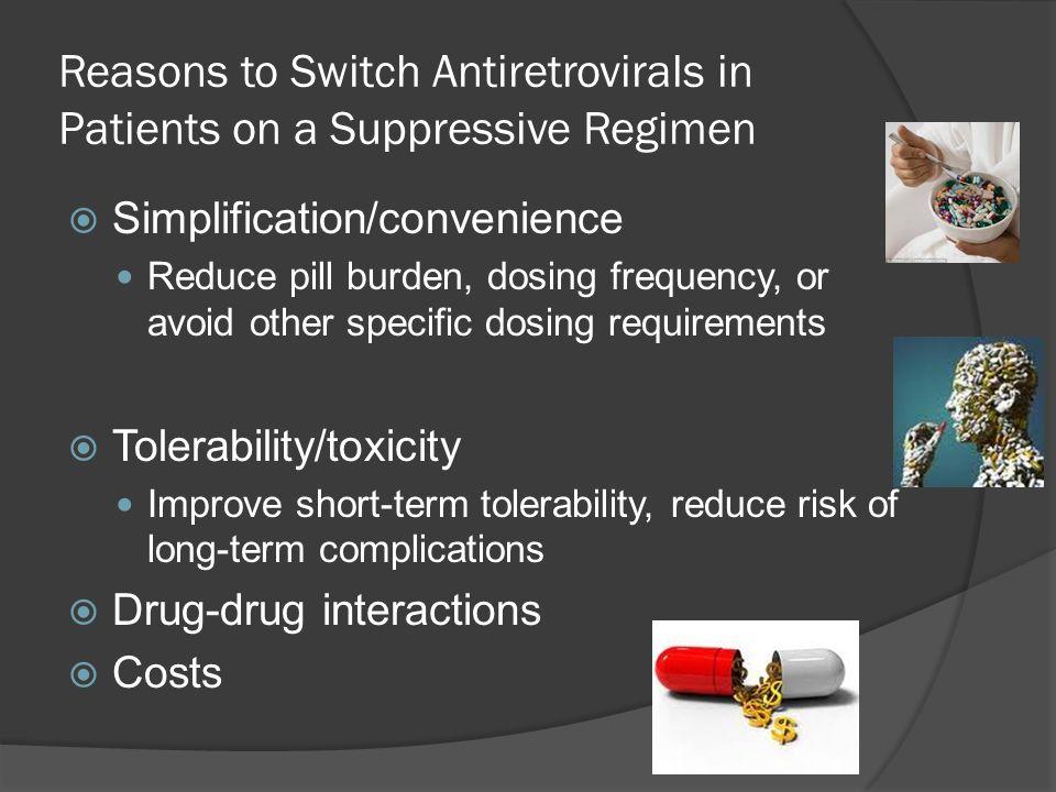 Reasons to Switch Antiretrovirals in Patients on a Suppressive Regimen