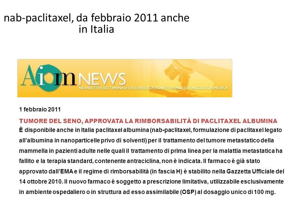 nab-paclitaxel, da febbraio 2011 anche in Italia