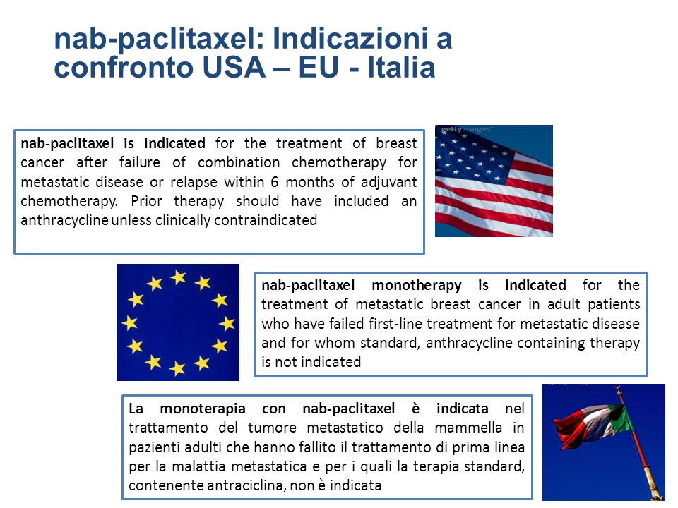 nab-paclitaxel: Indicazioni a confronto USA – EU - Italia