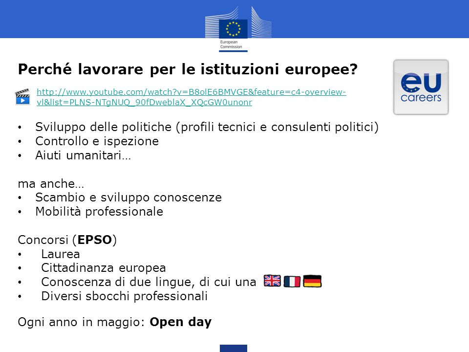 Perché lavorare per le istituzioni europee