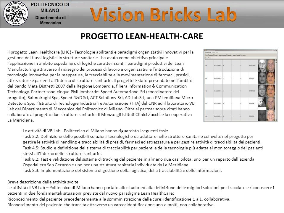 Vision Bricks Lab PROGETTO LEAN-HEALTH-CARE