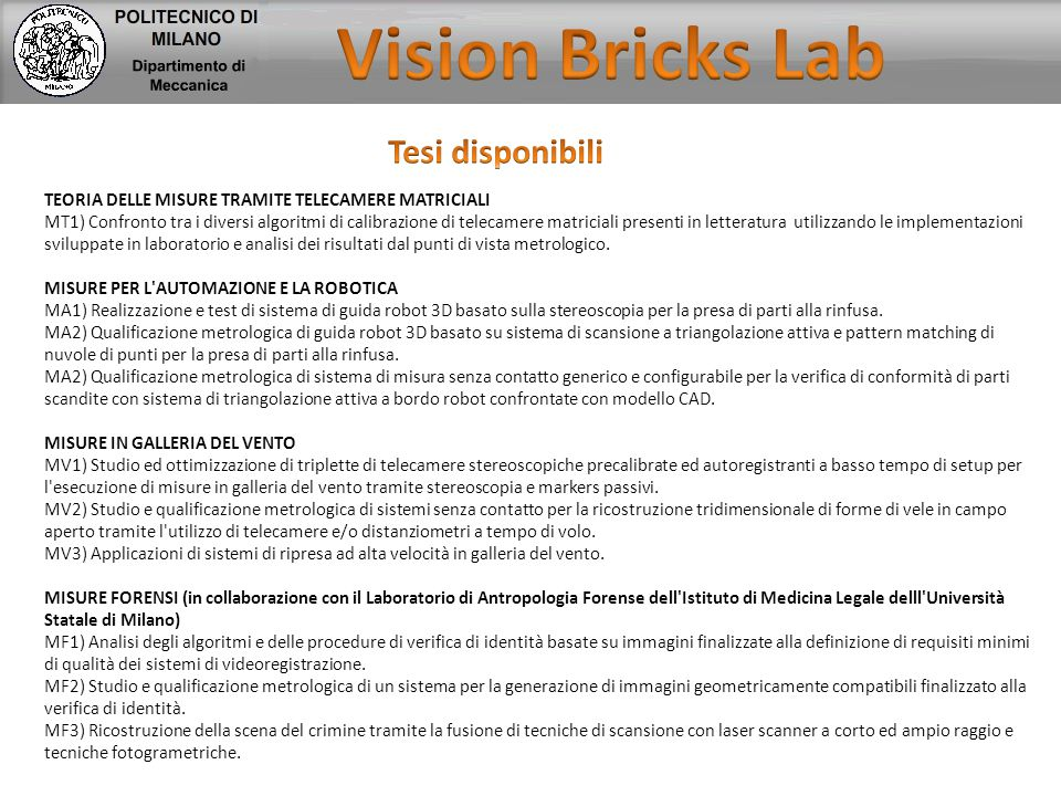 Vision Bricks Lab Tesi disponibili