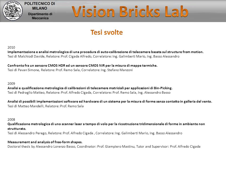 Vision Bricks Lab Tesi svolte