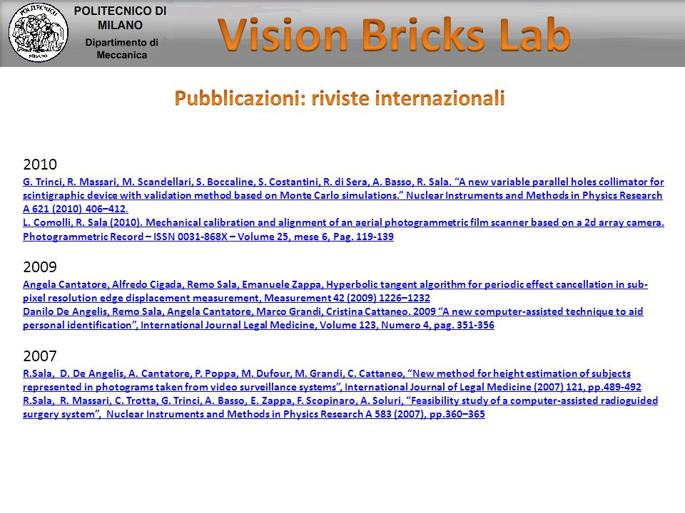 Pubblicazioni: riviste internazionali