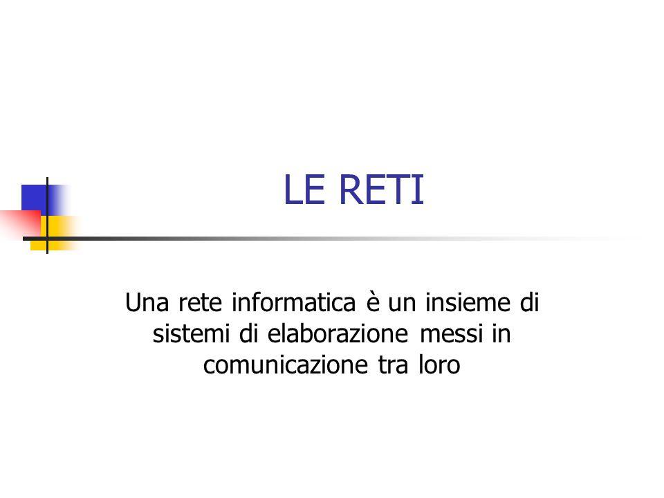 LE RETI Una rete informatica è un insieme di sistemi di elaborazione messi in comunicazione tra loro.